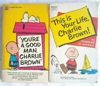 "2 Peanuts ""Charlie Brown"" Books 1970's Charles M. Schulz 1 Is A Play Script Book"