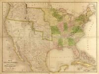 MAP AMERICAN ATLAS BURR 1839 USA GULF MEXICO LARGE REPLICA POSTER PRINT PAM0519