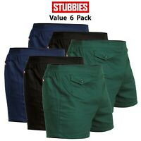 Mens Stubbies Original Work Short Shorts 6 PACK Elastic Back Cotton Drill SE2010