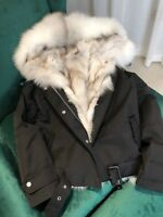 100% Real Vulpes Fur Lined Quality Hooded Short Style Winter Jacket UK Stock
