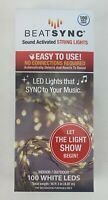 Beatsync Beat Sync Sound Activated String Lights 100 White LEDS New in Box 16 Ft