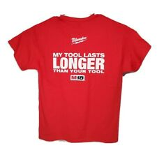 Milwaukee Power Tools T-shirt Mens Tool Lasts Longer New Sizes S, M, L, Xl,& 2Xl
