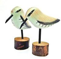 Shore Bird Wood Carved Decoy Figurine Set Hand-Painted Decor -Heritage Mint Ltd-