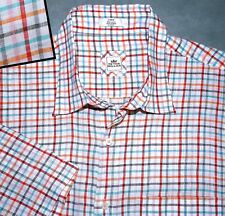 XL PETER MILLAR LINEN WHITE BLUE ORANGE GREEN TEAL SHORT SLEEVE PLAID MENS SHIRT