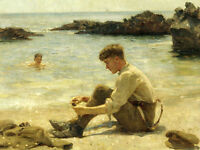 Oil Henry Scott Tuke Lawrence as a cadet at Newporth Beach near Falmouth boys