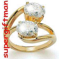 X018 - BAGUE OR DOUBLE AM. / ring goud  DIAMANTS CZ T50