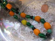 Antique African Trade Bead Necklace Green Carnival Glass Copal Amber Bakelite