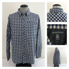 ExOfficio Bergen Mens L Blue Cream Plaid Long Sleeve Soft Cotton Flannel Shirt