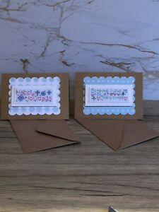 Set Of 2 Mini Completed Cross Stitch Christmas Cards 3x4 Inch