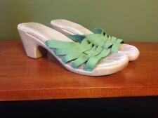 White Mountain Sandals Green Leather Strappy Summer Shoes Women's 6 Clogs Mule