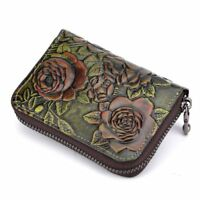 Women Genuine Cow Leather Short Wallet Purse Card Holder Clutch Bag Coin Case