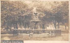 Creston Iowa~Wrought-Iron Fence Around Fountain @ South Park RPPC c1910