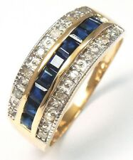 SYJEWELLERY 9CT YELLOW GOLD NATURAL SAPPHIRE & DIAMOND BAND RING    R1106