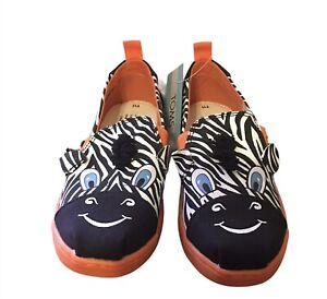 Tom's Alpargata Twin Gore Black White Zebra Toddler Kids Unisex Shoes Sz 11