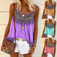 Womens Tee Tank BOHO Ladies Casual CAMI Vest Basic Shirt Blouse Sleeveless Tops