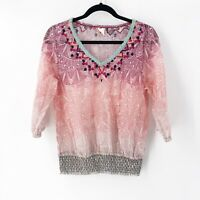 Akemi + Kin Anthropologie Arembepe Mesh Embroidered Smocked Top Blouse Sheer M