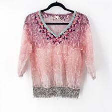 Akemi + Kin Anthropologie Arembepe Mesh Embroidered Smocked Top Blouse Sheer M