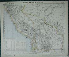 1883 LETTS MAP ~ SOUTH AMERICA WESTERN ~ BOLIVIA PERU POPULATION