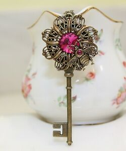 Victorian Brass Bumble bee flower key necklace pendant with Swarovski Crystals