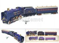 MS440 Vintage Blue Train L.M.S. Retro Clockwork Wind Up Tin Toy w/Box