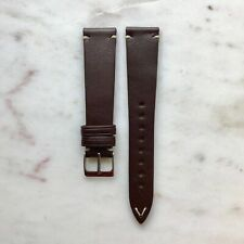 20mm Vintage Style Chocolate Brown Handmade Italian Leather Watch Strap Band