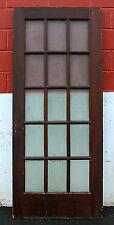 "33""x80 Antique French Exterior Entry Wood Wooden Door Textured Glass Window Lite"