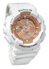 Casio Baby-G Ladies Wrist Watch BA110-7A1 BA-110-7A1CR White-Rose Gold Womens