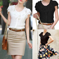 Ladies Womens Chiffon Ruffle Sleeveless T Shirt Casual Loose Fashion Tops Blouse