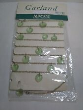 "Vintage Garland Midwest of Cannon Falls ""Leaf and Beads"" Green Plant Decoration"