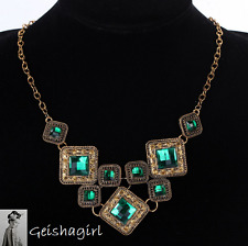 Quality Vintage Bronze Green Gemstone Pendant Chain Necklace Women UK Seller