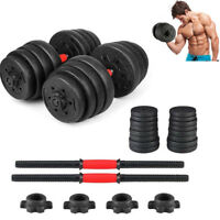 Weight Dumbbell Set 66 LB Adjustable Cap Gym Barbell Plates Hand Body Workout