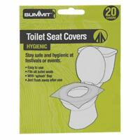 Summit Disposable Flushable Festival Hygienic Toilet Seat Covers Pack of 20