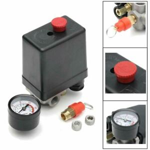 175psi 4 Port Air Compressor Pressure Switch Manifold Regulator + Safety Valve