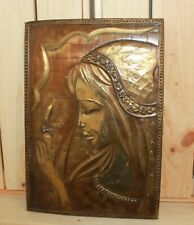 Vintage wall hanging brass/copper plaque woman with candle