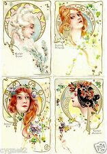 POSTCARDS (4) ART NOUVEAU FOUR SEASONS WOMEN