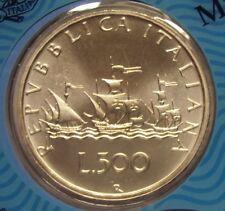 ITALIA REPUBBLICA 1989 500 LIRE CARAVELLE DA DIVISIONALE ZECCA FDC