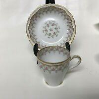Haviland Limoges Porcelain Demitasse Cup & Saucer Double Gold Pink Rose