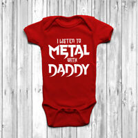 I Listen To Metal With Daddy Baby Grow Body Suit Vest Gift Cute Music Rock Punk