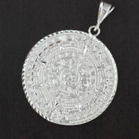 Mens Solid 925 Sterling Silver Mayan Aztec Calendar Round 53mm Pendant
