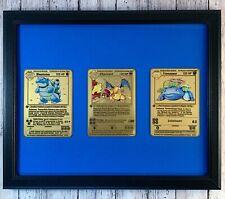 Charizard, Blastoise and Venusaur Metal First Edition Base Pokemon Card in Frame