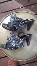 "Upcyclery boutique ""Beyonce"" fabulous black & metallic silver slide heels - 9"