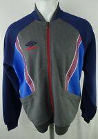 Umbro Men's Full Zip Collared Box Graphics Sweatshirt in Navy Blue and Gray