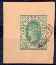 CAPE OF GOOD HOPE = QV era, 1/2d Green Postal Stationary Cut-Square. Used. (d)