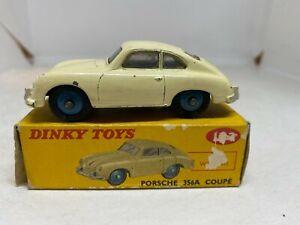Dinky Toys 182 Porsche 356A Coupe Cream Body, Blue Hubs Boxed
