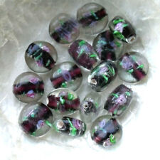 5 PELLETS BEADS GLASS MURANO - COLORS WITH ROSES - 8 CHOICE - 8/14 MM