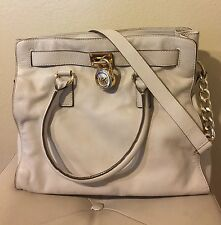 AUTHENTIC MICHAEL KORS Hamilton LARGE Beige Satchel NS SHOULDER BAG $358.00