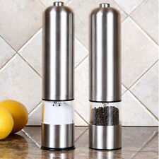 2 Electric Spice Salt Pepper Mill Grinder Stainless Steel Muller Home Tools New