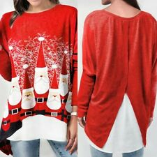 UK Christmas Women Santa Ladies Tunic Jumper Pullover T Shirt Blouse Plus Size