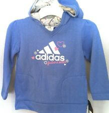 New with tags Girls Adidas FUTURE STAR Hoodie blue silver w/ hearts size sz 4