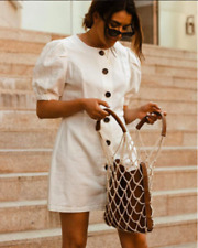 Zara off White Button up Front Linen Cotton Short Puff Sleeve Shirt Dress L Uk12